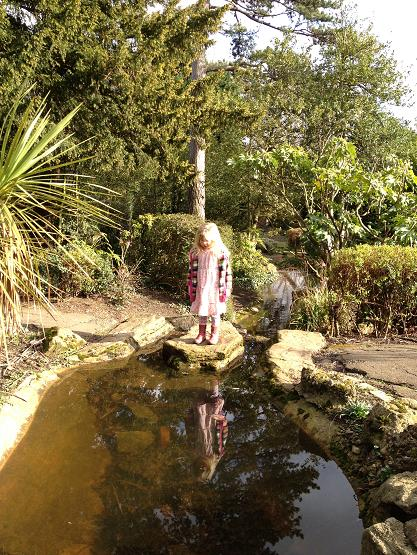 Girl on stepping stones, Highlands Gardens