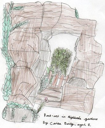 Rock arch in Highlands Gardens, drawn by Carina Bailey